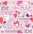 pink seamless patterned background with hearts vector image vector image