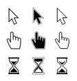 Pixel cursor pointer hand arrow hourglass vector image vector image