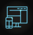 responsive design icon in neon line style vector image