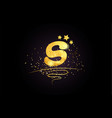 s letter alphabet icon design with golden star vector image