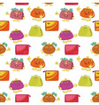 seamless pattern cartoon purses vector image vector image