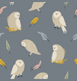 seamless pattern with cute owls and feathers vector image vector image