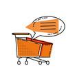 shopping cart with speech bubble vector image vector image