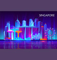 singapore night cityscape neon background vector image vector image