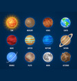 solar system cartoon planets cosmos planet galaxy vector image