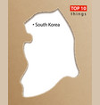 south korea map on craft paper texture template vector image