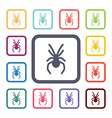 spider flat icons set vector image