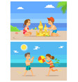 summer beach vacations kids children playing vector image vector image