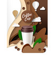 takeaway coffee cup ads template vector image