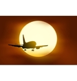 The plane flying into the sunset vector image vector image
