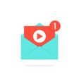 video notification button in letter vector image vector image