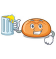 with juice hamburger bun mascot cartoon vector image