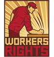 workers rights poster - fist hit of the table vector image vector image