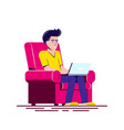 young man working with laptop flat style vector image vector image