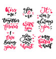 valentine s day lettering set isolated vector image