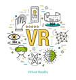 virtual reality - line art concept vector image