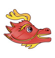 cute head red dragon animal mythological chinese vector image