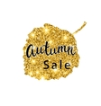 Autumn Sale brush lettering Gold glitter banner vector image