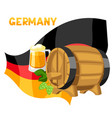 beer and barrel on flag germany vector image vector image