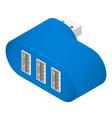 blue usb hub icon isometric style vector image