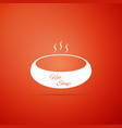 bowl of hot soup icon on orange background vector image