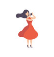 brunette woman in red dress taking photos vector image vector image