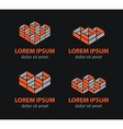 building blocks logo set abstract vector image