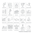 Business management conceptual icons thin line vector image