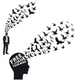 Businessman with flying birds vector image vector image