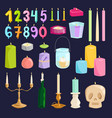 candle numbers with bone fire vector image vector image