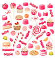 candy set sweet desserts chocolate candies vector image vector image
