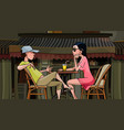 cartoon couple talking sitting at a table in a vector image