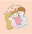 cartoon cute parents and baby vector image
