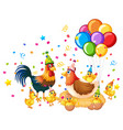 chicken family in party theme isolated on white vector image
