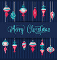 christmas card with christamas balls and wishes vector image vector image