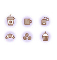 coffee and accessories set outline icons vector image vector image
