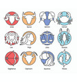 collection of zodiac signs isolated on white vector image