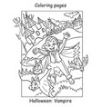 coloring halloween cute little vampire and bats vector image vector image