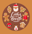 cookie for santa claus poster christmas sweets vector image vector image