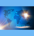 covid19 concept image a blue world map vector image