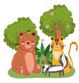 cute animals bear tiger bees and skunk grass vector image vector image
