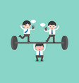 cute businessman try to weigh lifting barbell one vector image vector image