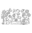 cute cats with butterfly vector image vector image