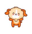 cute funny dog flat line cartoon kawaii vector image vector image