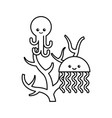 cute jellyfish with octopus sealife icon vector image