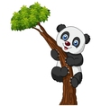 Cute panda cartoon climbing tree vector image vector image