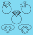 diamond rings set vector image vector image
