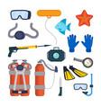 diving equipment set scuba diver vector image
