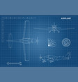 engineering blueprint of plane sport airplane vector image vector image