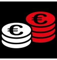 Euro coin stacks icon from BiColor Euro Banking vector image vector image